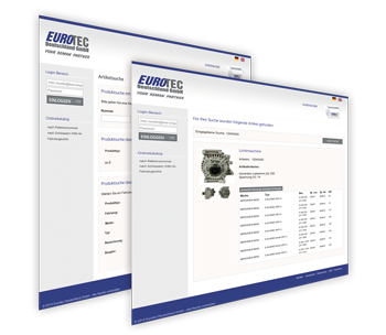 Eurotec Online-Shop Screens